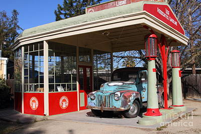 Filling Up The Old Ford Jalopy At The Associated Gasoline Station . Nostalgia . 7d12880 Poster by Wingsdomain Art and Photography