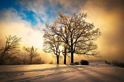 Fire And Ice - Winter Sunset Landscape Poster by Dave Allen