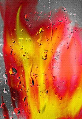 Fire And Rain Abstract - Inverted Poster by Steve Ohlsen