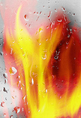 Fire And Rain Abstract Poster by Steve Ohlsen