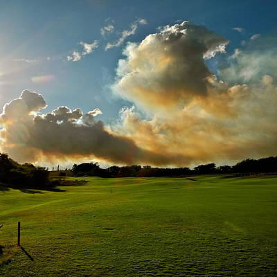 Fire Clouds Over A Golf Course Poster
