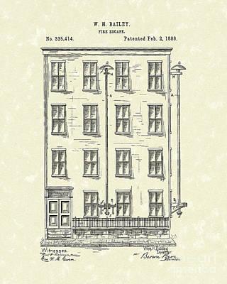 Fire Escape 1886 Patent Art Poster by Prior Art Design