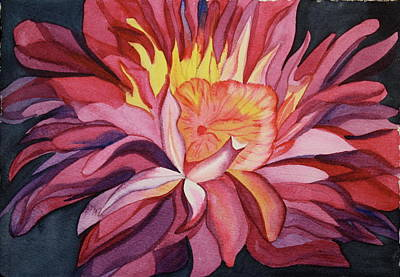Poster featuring the painting Fire Floral by Teresa Beyer