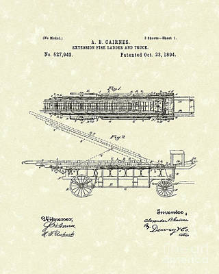 Fire Ladder Extension 1894 Patent Art Poster by Prior Art Design