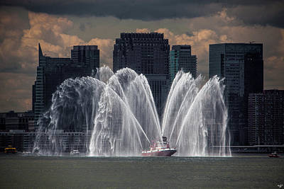 Fireboat On The Hudson Poster