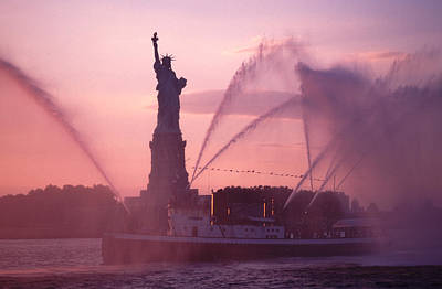 Fireboat Plumes The Statue Of Liberty Poster by Tom Wurl