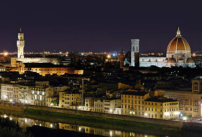 Firenze Skyline At Night - Duomo And Surroundings Poster