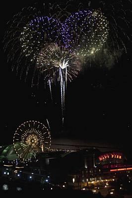 Fireworks, Chicago, Illinois, Usa Poster