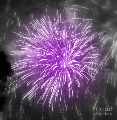 Poster featuring the photograph Fireworks In Mauve by France Laliberte