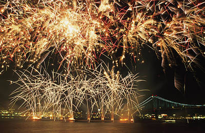 Fireworks Over Harbour Poster by Axiom Photographic