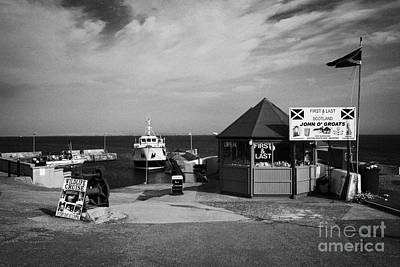 first and last shop and John OGroats harbour with orkney ferry scotland uk Poster