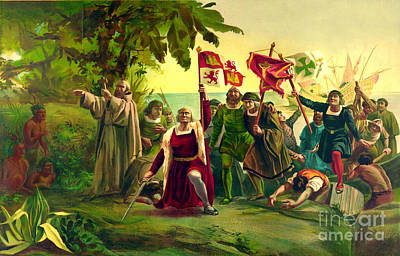 First Landing Of Columbus On The Shores Of The New World At San Salvador Poster by Pg Reproductions