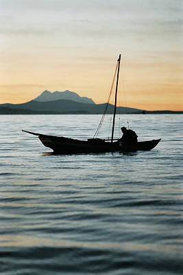 Fisherman On Lake Titicaca. Republic Of Bolivia.  Poster by Eric Bauer