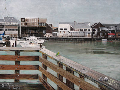 Poster featuring the painting Fishermans Wharf San Francisco by Stuart B Yaeger