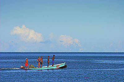 Fishermen And Canoe- St Lucia Poster