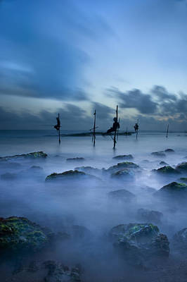 Fishermen At Blue Hour Poster
