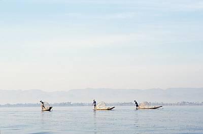 Fishermen At Sunrise Poster