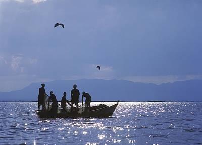 Fishermen Pulling Fishing Nets On Small Poster