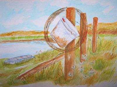 Poster featuring the painting Fishin Bucket On Bobwire Fence by Belinda Lawson