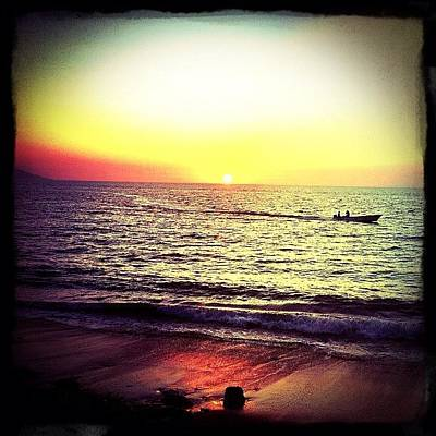 Fishing At Sunset (puerto Vallarta) Poster