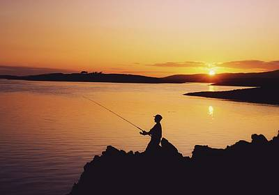 Fishing At Sunset, Roaring Water Bay Poster
