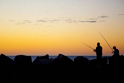 Poster featuring the photograph Fishing At Sunset by Serene Maisey