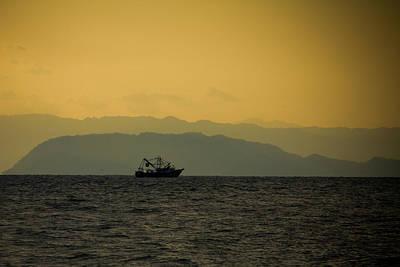 Fishing Boat At Sunset Poster