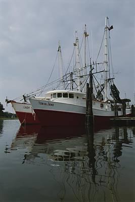 Fishing Boats At Dock Poster by Medford Taylor