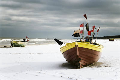 Fishing Boats At Snowy Beach Poster