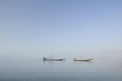 Fishing Boats, Inle Lake, Myanmar Burma Poster by Huy Lam