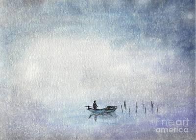 Fishing By Moonlight Poster by Annemeet Hasidi- van der Leij