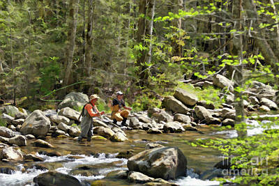 Fishing The Little Pigeon River - D005193 Poster