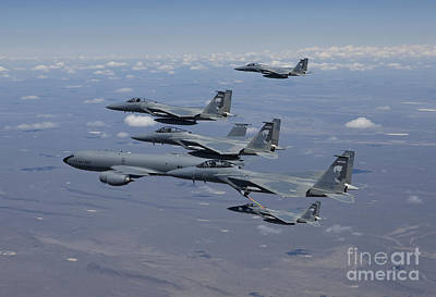 Five F-15 Eagles Conduct Aerial Poster by HIGH-G Productions