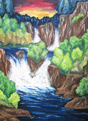 Poster featuring the painting Five Falls by Cheryl Pettigrew