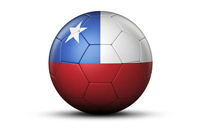Flag Of Chile On Soccer Ball Poster by Bjorn Holland