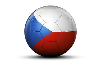 Flag Of Czech Republic On Soccer Ball Poster by Bjorn Holland