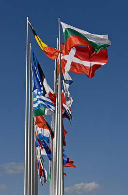 Flags At Bregenz, Austria Poster by Altrendo Travel