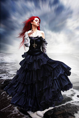 Flaming Siren Poster by Julie L Hoddinott