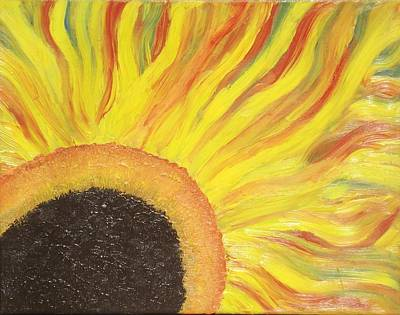 Poster featuring the painting Flaming Sunflower by Margaret Harmon