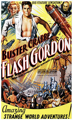 Flash Gordon, Jean Rogers, Larry Buster Poster by Everett