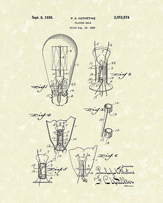Flasher Bulb 1936 Patent Art Poster by Prior Art Design