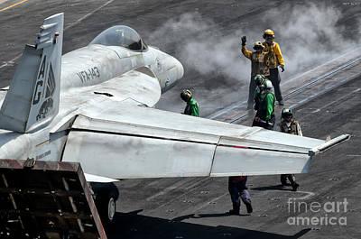 Flight Deck Crew Position An Fa-18e Poster