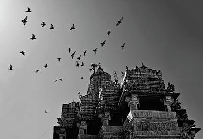 Flight Of Birds Above Jadgish Temple Poster by Prashanth Naik