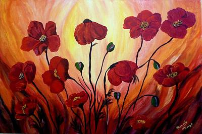 Floating Poppies Poster by Renate Voigt
