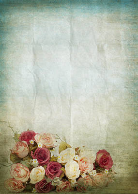 Floral Pattern On Old Paper Poster by Setsiri Silapasuwanchai
