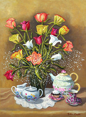 Floral With China And Ceramics Poster