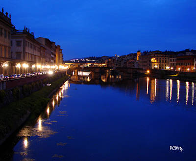 Poster featuring the photograph Florence Arno River Night by Patrick Witz