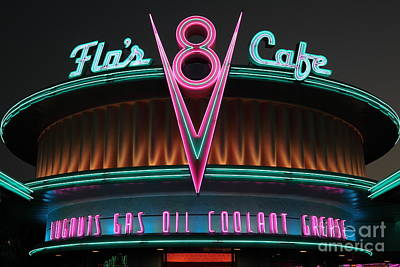 Flos Cafe - Radiator Springs Cars Land - Disney California Adventure - 5d17760 Poster by Wingsdomain Art and Photography