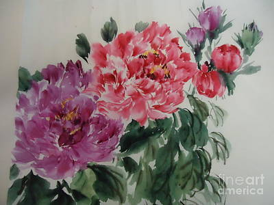 Poster featuring the painting Flower-2-2012 by Dongling Sun