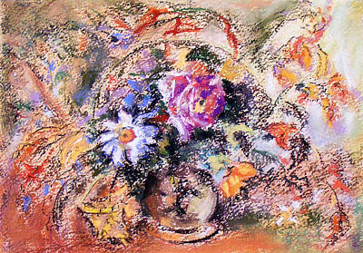 Poster featuring the painting Flower Burst Mixed Bouquet by Richard James Digance